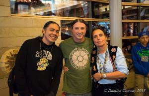 Matt Remle (Lakota) middle with James Old Coyote and Winona LaDuke. Follow at @wakiyan7