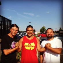 L to R: Matt Remle (LRI Pacific Northwest wearing N8V Couture T shirt), Chase Iron Eyes (Lastrealindians Owner, Walter Olebare, Seattle hip hop artist)