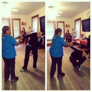 Patricia Stein Stonefish teaching self defense class.