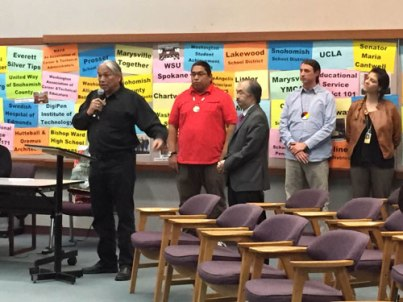 Matt Remle with Denny Hurtado and Michael Vendiola  from the Office of Native Education providing testimony to the Marysville School Board to adopt the STI curriculum.  Photo by: Tulalip News/ Brandi N. Montreuil