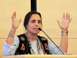 Winona LaDuke, keynote speaker at City Hall. Photo/Micheal Rios
