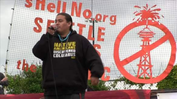 Nataanii performing at #ShellNo protest in Seattle.