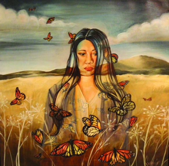 "Missing. Oil on canvas. From the artist, ""I created this piece to honor the lives and memory of unexplained murders and missing Indigenous women of North America. The images I chose places a woman amongst a landscape and butterflies. The interaction of the woman and the butterflies has little do with one another in the physical sense; instead, I combine the elements in this painting in an overlapping manner to create cohesion between three violated subjects. The butterflies are a symbol for Indigenous women, which is why they are seen moving through and within the woman. The monarch butterfly has a migratory pattern that spans North America. In recent documentation, the monarch butterfly is also unexplainably dying / missing. In this piece, I wanted to depict the connection between land and women – I see that we are mistreating and killing both. I believe that because there is no respect for the land, there is no respect for women. I believe when one stops, the other will too."""