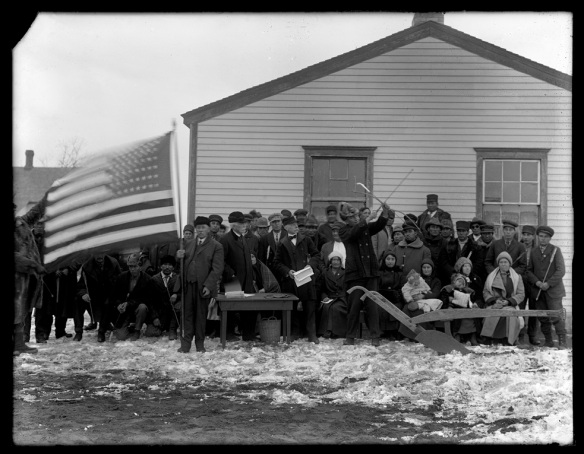 James McLaughlin performs a citizenship ritual for Native Americans of the Standing Rock Indian Reservation in Fort Yates, North Dakota, on December 18, 1917. The ceremony included the shooting of last arrows and the symbol of a plow to farm. (State Historical Society of North Dakota 1952-00372 Frank Fiske Photo)