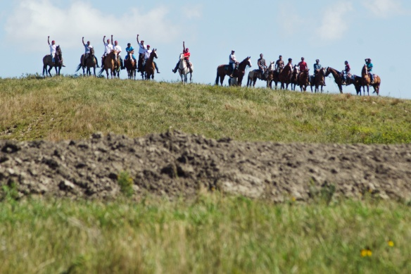 Native American protestors rode horses into a construction site for the Dakota Access pipeline on August 27. Construction at the site had been halted a week before after over 1,000 people, most Native American, gathered at two prayer camps along the Cannonball River near its confluence with the Missouri in North Dakota to protest the Dakota Access pipeline. The pipeline is slated to extend from North Dakota to Illinois, carrying crude oil from the Bakken shale play. The Standing Rock Sioux tribe filed an injunction against the US Army Corps of Engineers in federal court in Washington DC, claiming that the Army Corps did not take tribal spiritual and heritage sites into consideration when it granted permits for the pipeline. The court has postponed a decision until Sept. 9, 2016.