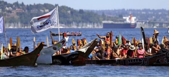 Pullers from the Puyallup Tribe at the annual canoe journey