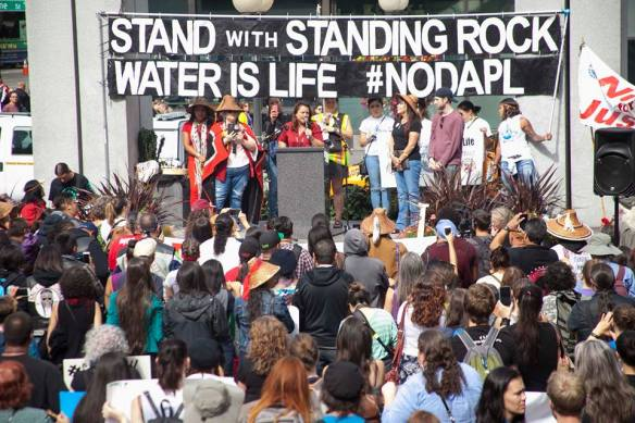 Quinault Nation President Fawn Sharp speaking at #NoDAPL rally in Seattle.