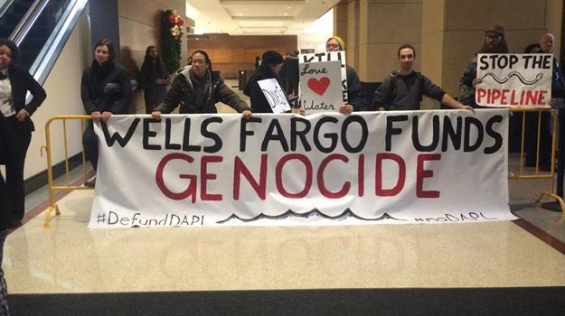 Water Protectors Shut Down Wells Fargo Bank to Demand