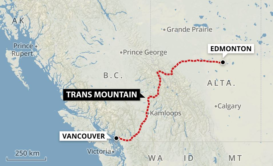 Kinder Morgan CA's proposed pipeline route